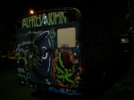 Back view of graffiti bus