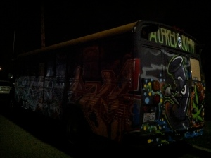 Side View of Graffiti Bus